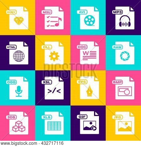 Set Jpg File Document, Bmp, Raw, Avi, Dll, Html, Ruby And Doc Icon. Vector