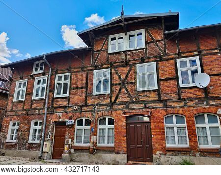 Gdansk, Poland - August 26, 2021: Old Residential House In The Gdansk City Center With Typical Facad