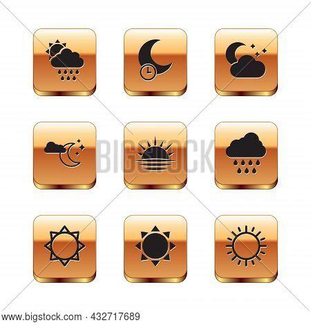 Set Cloud With Rain And Sun, Sun, Sunset, Moon Stars, And Sleeping Icon. Vector