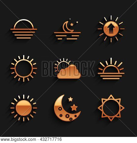Set Sun And Cloud Weather, Moon Stars, Sunset, And Icon. Vector