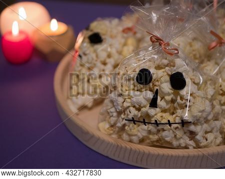 Popcorn In The Form Of Spooky Skull For Halloween Party. Goodies For The Party