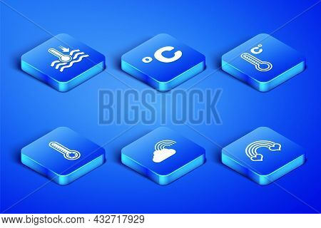 Set Rainbow With Heart, Water Thermometer, Cloud, Meteorology, Celsius And Icon. Vector