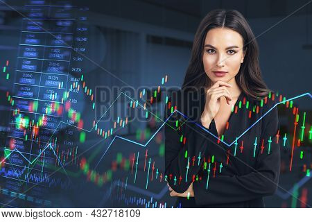 Thoughtful Businesswoman Wearing Formal Suit Is Touching Chin With Her Hand. Financial Chart, Graph