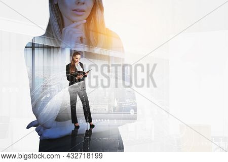 Businesswomen Wearing Formal Suits Work Together Taking Notes In Notebook. Digital Interface With Ho