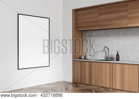 Corner View On Cozy Kitchen Room Interior With Empty White Poster On The Wall And Oak Wooden Parquet
