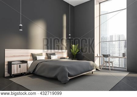 Corner Of A Contemporary Grey Bedroom Interior With Two Pendant Lights, Wooden Bed With Bedstands, A