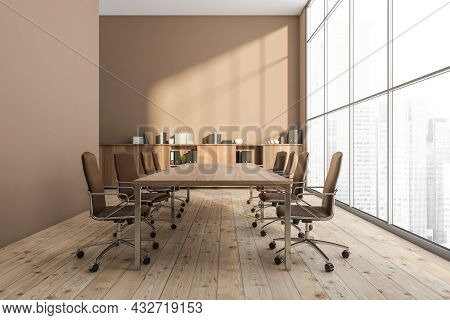 Panoramic Beige Office Interior With A Conference Table, Rolling Chairs, A Sideboard, Empty Beige Wa
