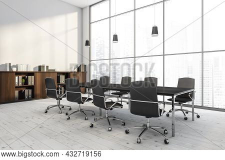 Corner Of A Panoramic Conference Room Interior With A Table, Rolling Chairs, A Sideboard, An Empty W