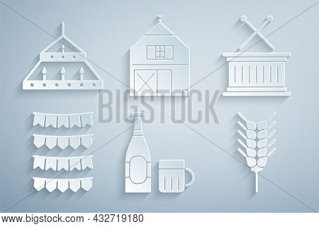 Set Beer Bottle And Glass, Musical Drum Sticks, Carnival Garland With Flags, Wheat, Farm House And M