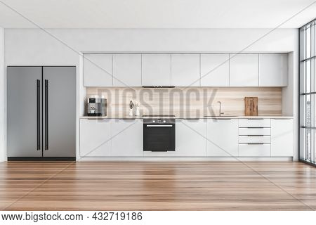 Front View On Kitchen Room Interior With Oak Wooden Floor, White Wall, Panoramic Window With Singapo
