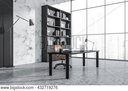 Corner View On Office Room Interior With Laptop, Panoramic Window With Singapore City, Armchair, Des