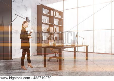 Businessman Wearing Formal Suit Is Drinking Coffee Inside Office Room Interior With Laptop, Comforta