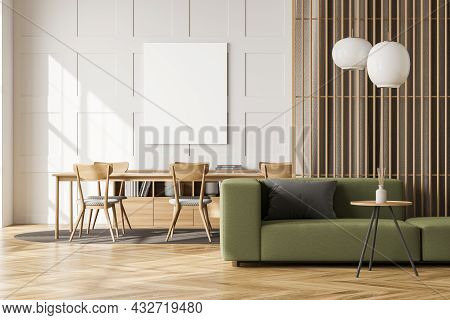Empty Canvas On The White Wall In Living Space Interior Design, Using A Green Sofa, A Wood Wall Part