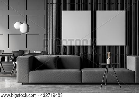 Two Canvases On The Wall Partition In Living Space Interior Design, Using A Sofa, Wall Panelling, Cu