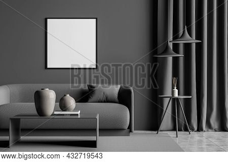 Dark Grey Living Room Interior With An Empty Square Canvas, On Trend Pendant Lights, A Curtain, A So