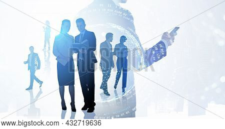 Group Of Business People Work Together To Increase Income Of Company. Hologram Of Digital Interface