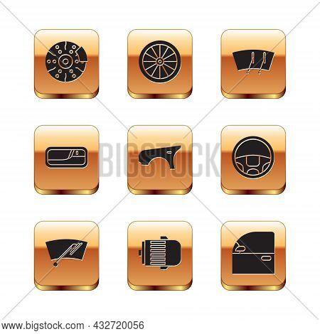 Set Car Brake Disk With Caliper, Windscreen Wiper, Electric Engine, Fender, Door Handle, And Wheel I