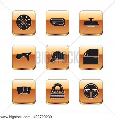 Set Car Wheel, Windscreen Wiper, Tire, Mirror, Fender, Steering And Door Handle Icon. Vector