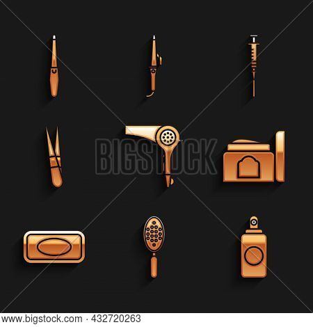 Set Hair Dryer, Hairbrush, Spray Can, Cream Cosmetic Tube, Bar Of Soap, Eyebrow Tweezers, Syringe An