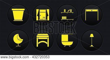 Set Armchair, Wooden Table, Chair, Bathtub With Shower Curtain, Shelf Books, Window Curtains, Floor