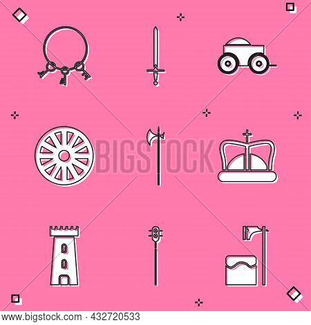 Set Old Keys, Medieval Sword, Wooden Four-wheel Cart, Wooden, Halberd, King Crown, Castle Tower And