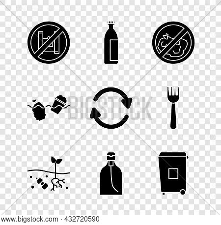 Set Say No To Plastic Bags Poster, Lotion Cosmetic Tube, No Trash, Problem Of Pollution Planet, Bott