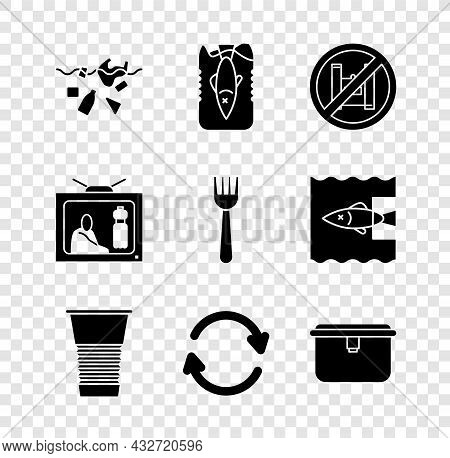 Set Problem Of Pollution Planet, Stop Ocean Plastic, Say No Bags Poster, Paper Glass, Refresh, Lunch