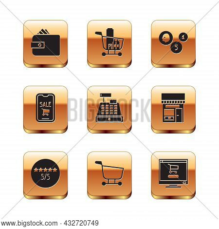 Set Wallet With Paper Money Cash, Consumer Or Customer Product Rating, Shopping Cart, Cash Register