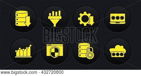 Set Pie Chart Infographic, Laptop With Password, Browser Shield, Server Security Lock, Cost Reductio