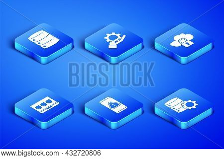 Set Server And Gear, Server, Data, Web Hosting, Mobile With Exclamation Mark, Laptop Password, Hand