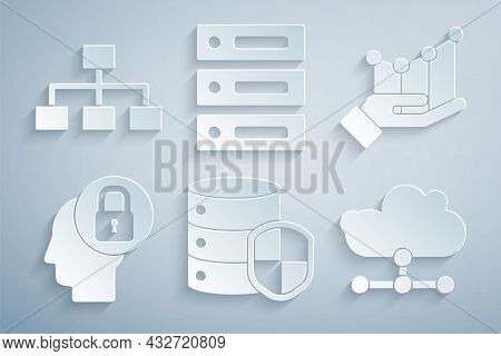Set Server With Shield, Pie Chart Infographic, Human Head Lock, Network Cloud Connection, Server, Da