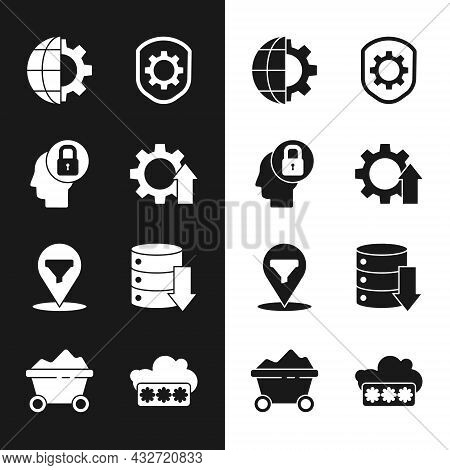 Set Arrow Growth Gear, Human Head With Lock, Globe Of The Earth And, Shield Settings, Location Sales