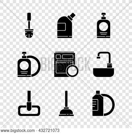Set Toilet Brush, Bottles For Cleaning Agent, Hand Sanitizer Bottle, Mop, Rubber Plunger, Dishwashin