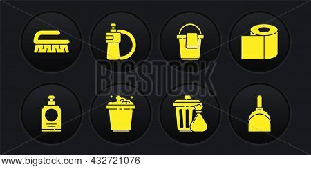 Set Hand Sanitizer Bottle, Toilet Paper Roll, Bucket With Soap Suds, Trash Can Garbage Bag, Rag, Dis
