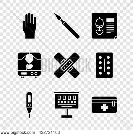 Set Medical Rubber Gloves, Surgery Scalpel, X-ray Shots, Digital Thermometer, Eye Test Chart, First
