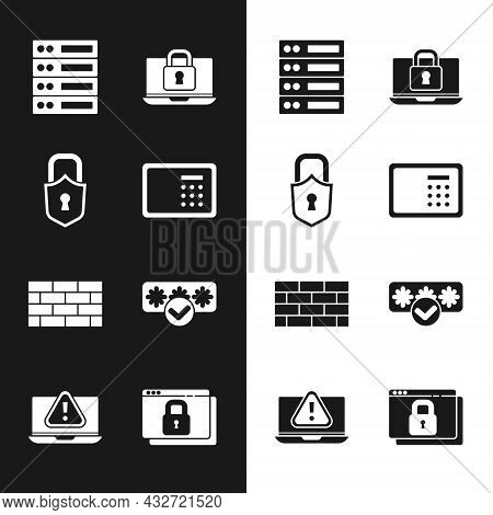 Set Safe, Lock, Server, Data, Web Hosting, Laptop And Lock, Firewall, Security Wall, Password Protec