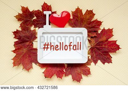 Autumn Composition. Hellofall, Text In Frame, I Love, With Heart Decorated Red Maple Leaves On Paste