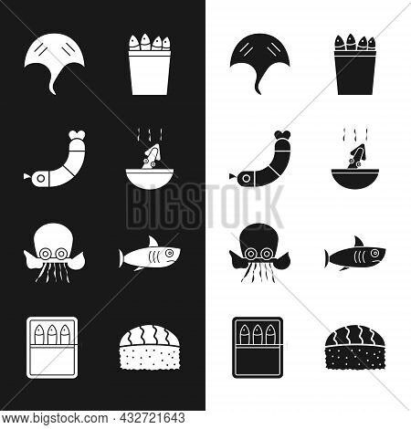 Set Soup With Octopus, Shrimp, Stingray, Fishing Bucket Fishes, Octopus, Shark, Sushi And Canned Ico
