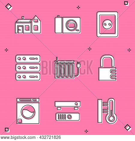 Set House, Photo Camera, Electrical Outlet, Server, Data, Web Hosting, Heating Radiator, Safe Combin