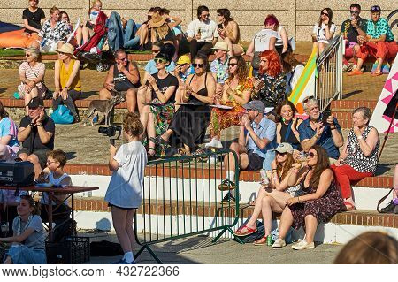 Margate, United Kingdom - August 14, 2021: Tracey Emin And Judges At Margate Pride. Judges Of The Mx