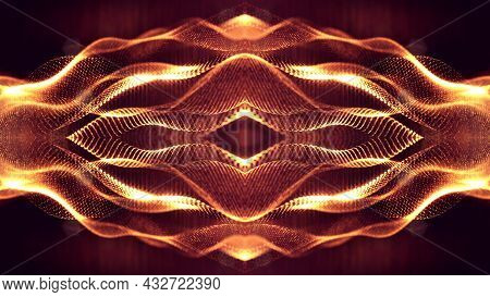 3d Rendering Background Of Microworld Or Sci-fi Theme With Glowing Particles Form Curved Lines, 3d S