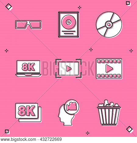 Set 3d Cinema Glasses, Cd Disk Award Frame, Or Dvd, Laptop With 8k, Online Play Video, Play Video, U