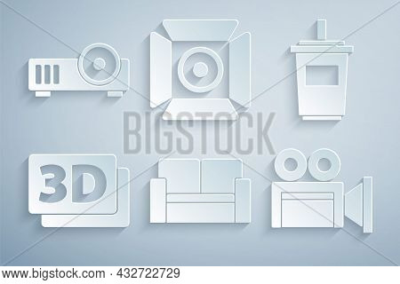 Set Cinema Chair, Paper Glass With Water, 3d Word, Camera, Movie Spotlight And Media Projector Icon.