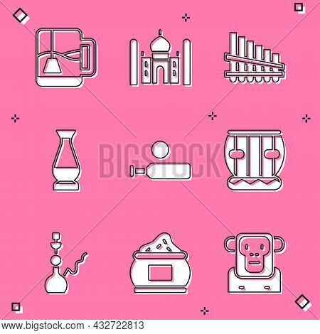 Set Cup Of Tea With Tea Bag, Taj Mahal, Pan Flute, Indian Vase, Wood Cricket Bat And Ball, Instrumen