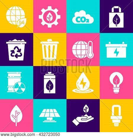 Set Led Light Bulb, Light With Leaf, Car Battery, Co2 Emissions In Cloud, Trash Can, Recycle Bin Rec