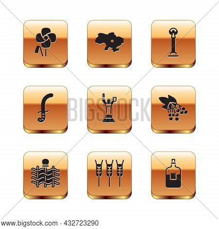 Set Poppy Flower, Wicker Fence, Wheat, Mother Motherland Monument, Medieval Sword, Monument Of Indep