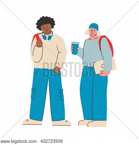 Young Man And Woman In Modern Casual Clothes With A Backpack, Laptop And Headphones. College Student