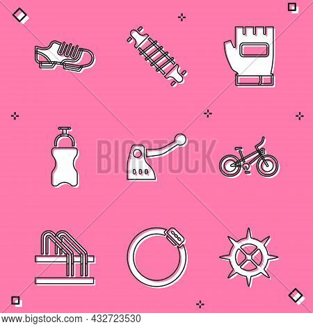 Set Bicycle Shoes, Suspension, Gloves, Sport Bottle With Water, Brake, Parking And Disc Icon. Vector