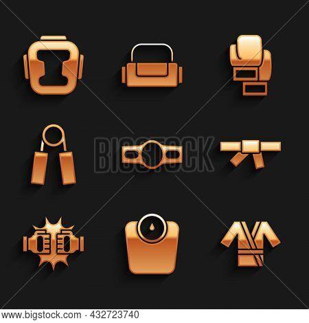 Set Boxing Belt, Bathroom Scales, Japanese Costume Kimono, Black Karate, Punch Boxing Gloves, Sport