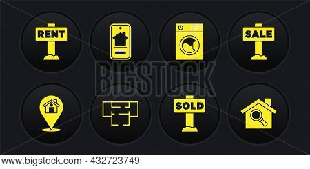 Set Location With House, Hanging Sign Sale, House Plan, Text Sold, Washer, Online Real Estate, Searc
